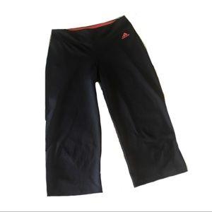 Adidas Gray Capri Leggings Pink Waistband Small